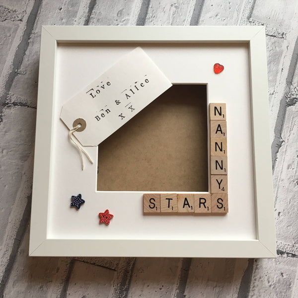 Nanny's Stars, Angels or Monsters, Personalised Scrabble Frame, Scrabble Art Frame, Scrabble Frame,