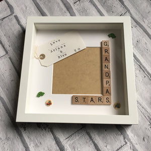 Grandad's Stars, Angels or Monsters, Personalised Scrabble Photo Frame