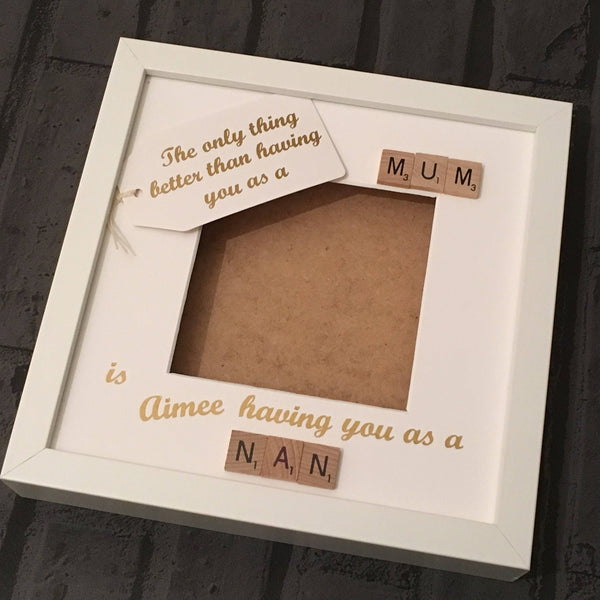 Nanny Grandma Mum Scrabble Art Photo Frame, The Only Thing Better Than..., Gifts for Her, Christmas Present, Birthday Gift