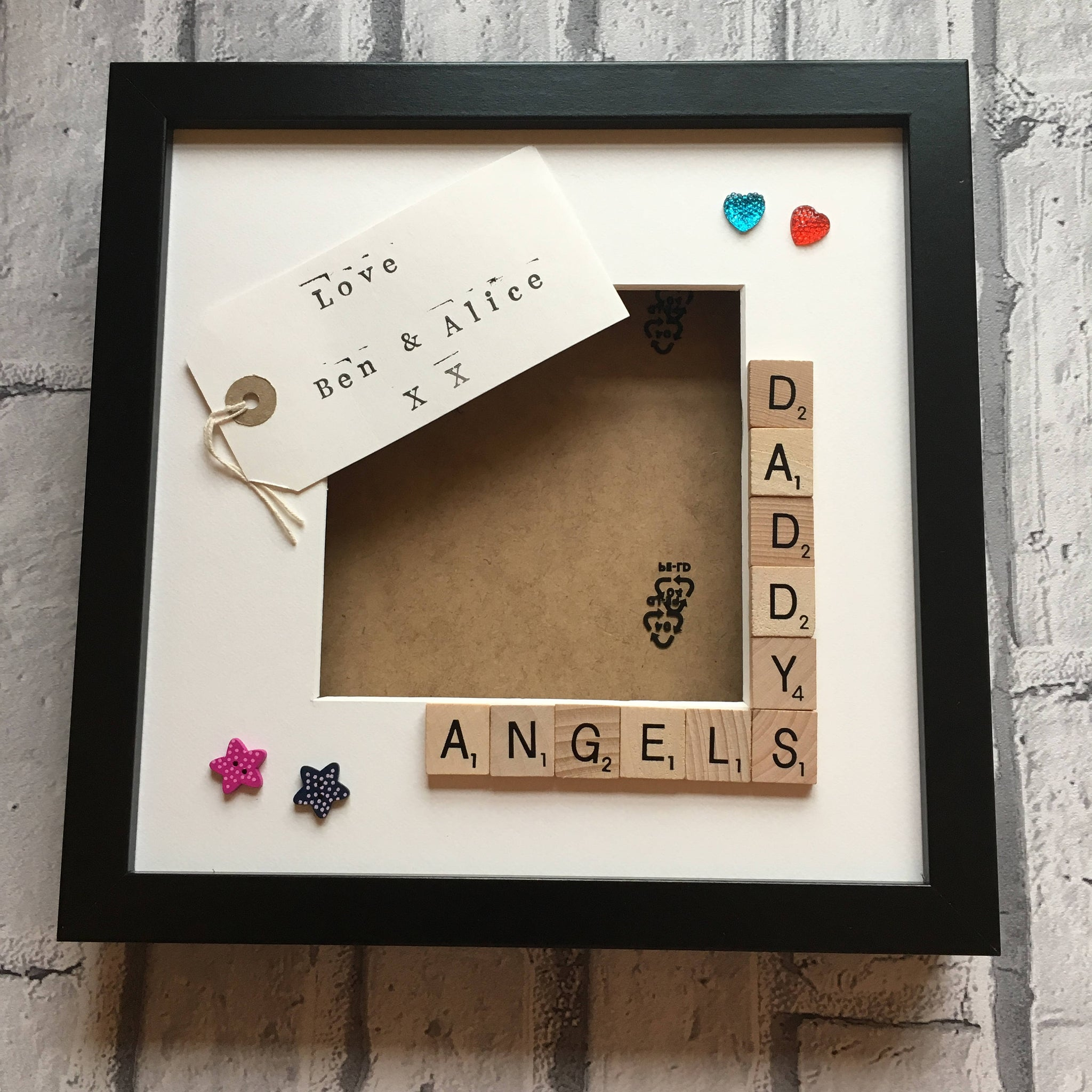 Daddy's Angels, Stars, Monsters Frame, Personalised Scrabble Photo Frame.