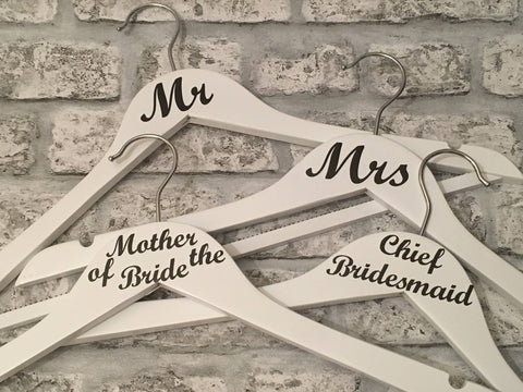 Wedding Hangers Set of Eight, Wedding Dress Hanger, Bridesmaids Hangers, Wedding Photo Prop, Wedding Keepsake, Bridal Party Hangers, Brides