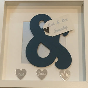 Wedding Gift Frame, Personalised Frame, Ampersand Detail Frame, Keepsake Frame, Anniversary Frame, Engagement Frame