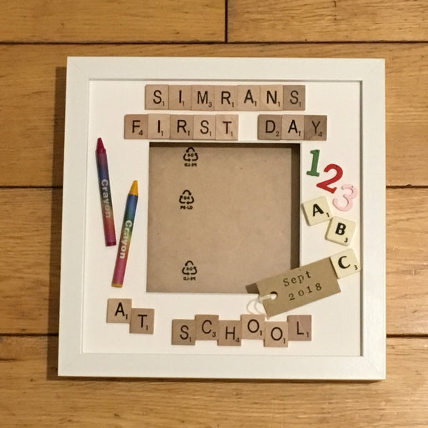 My First Day At School Scrabble Art Photo Frame, My First Day At Nursery, Pre School etc, Scrabble Frame, Scrabble Art, Personalised Frame