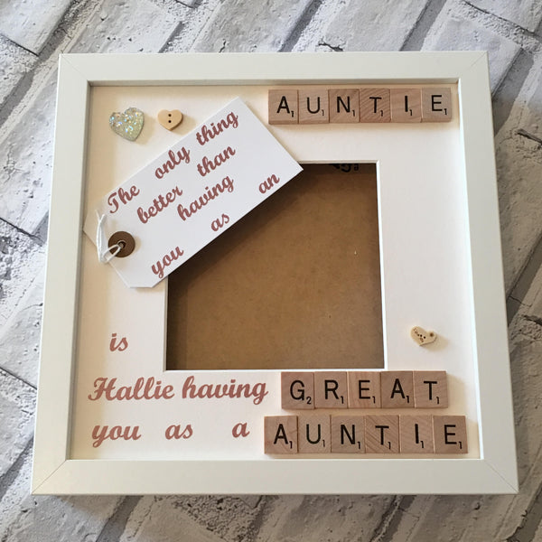 Auntie/Great Auntie Frame, personalised scrabble frame for a wonderful Aunt.