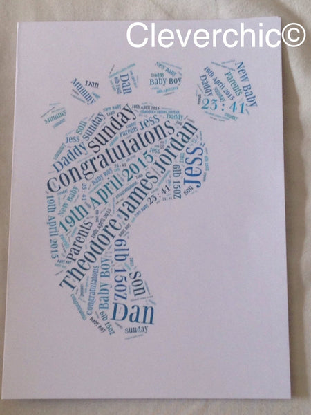 Birth Card, New Baby Card, Typography A5 Word Art Card with Baby's Birth details, Typography, Word Cloud, Word Shape