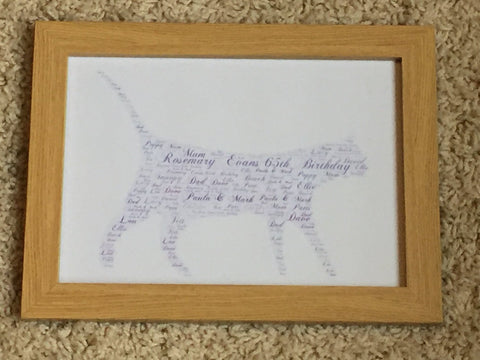 Cat Shaped Word Art Typography A4 Print (unframed)