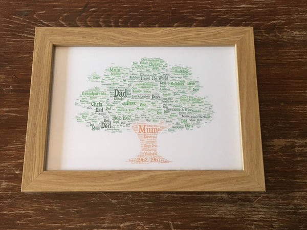 Family Tree A4 Typography Word Art Print, Framed Typography Family Tree, A4 print, Personalised Print, Family Gift, Gifts for the Home