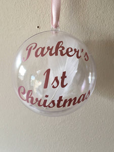 Babies First Christmas Bauble, Tree Decoration, 1st Xmas Ornament, Memory Bauble, Personalised Bauble, Tree Ornament, Special Memory