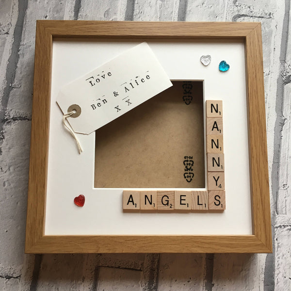 Nanny's Stars, Angels or Monsters, Personalised Scrabble Photo Frame