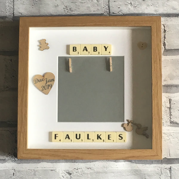 Baby Scan Scrabble Art Personalised Photo Frame