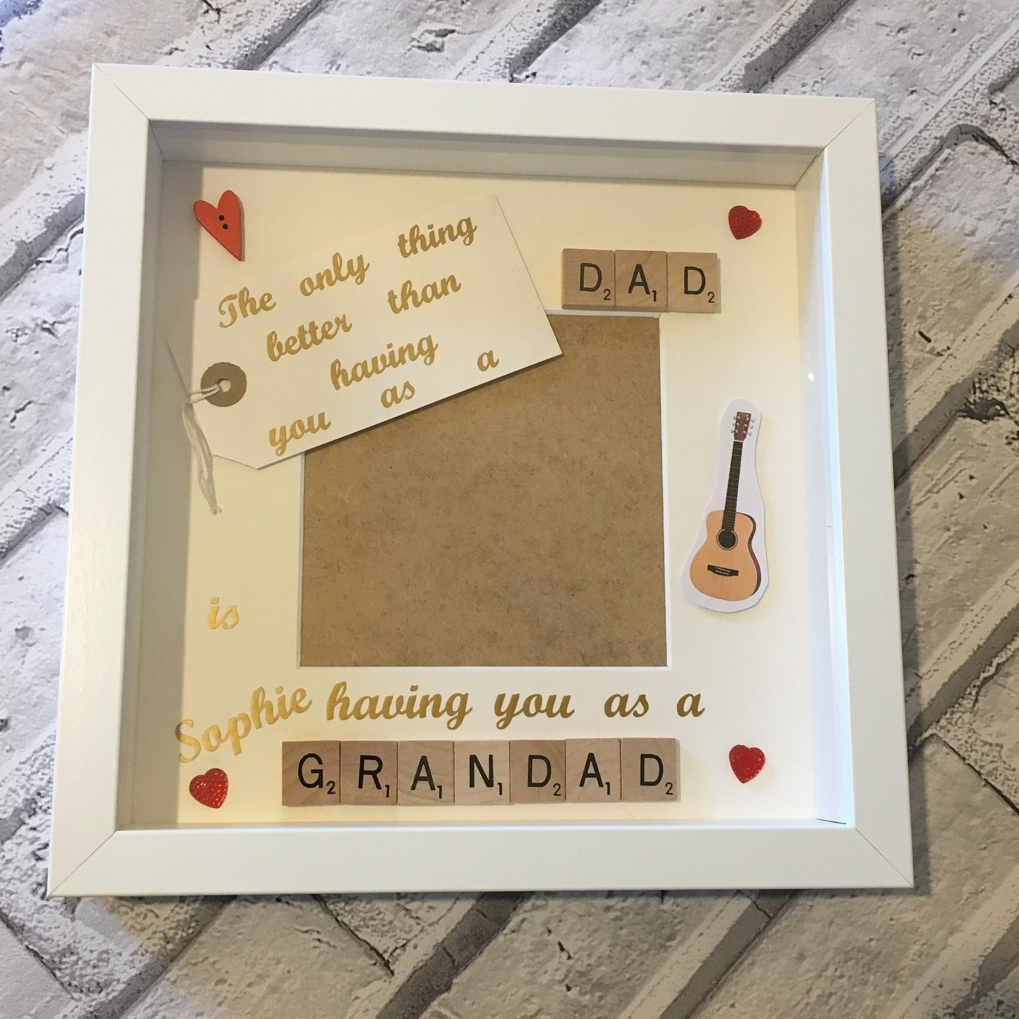 Grandad Dad Scrabble Art Personalised Photo Frame, The Only Thing Better Than...