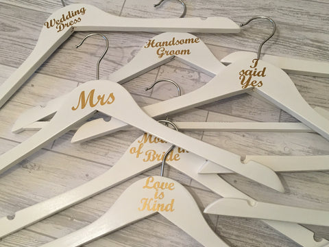 Wedding Hangers Role Only, Set of Ten, Wedding Dress Hanger, Bridesmaids Hangers, Wedding Photo Prop, Wedding Keepsake, Bridal Party Hangers, Brides