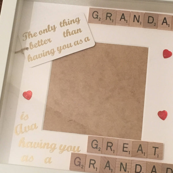Grandad Great Grandad Scrabble Art Personalised Photo Frame, The Only Thing Better Than...