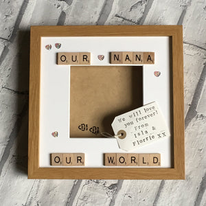 Our World Scrabble Art Photo Frame, Nana, Nanny, Grandma, Grandad, Mum, Dad, Auntie, Uncle, Personalised Scrabble Photo Frame