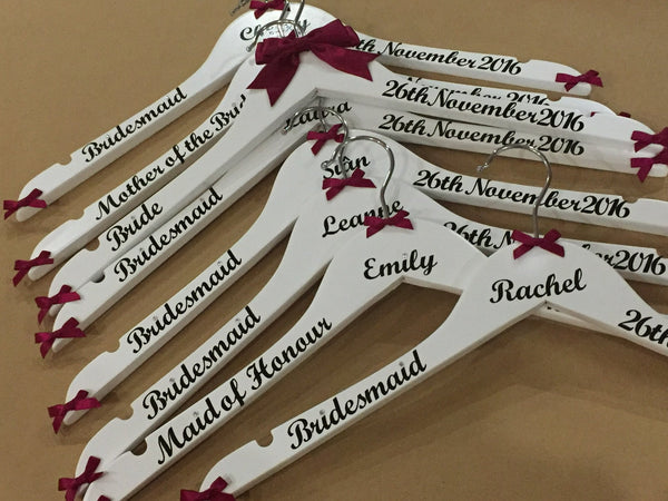 Wedding Hangers, Personalised Wedding Hangers, Bridal Party Hangers, Photo Prop Hangers, Bridesmaids Hangers, set of 4