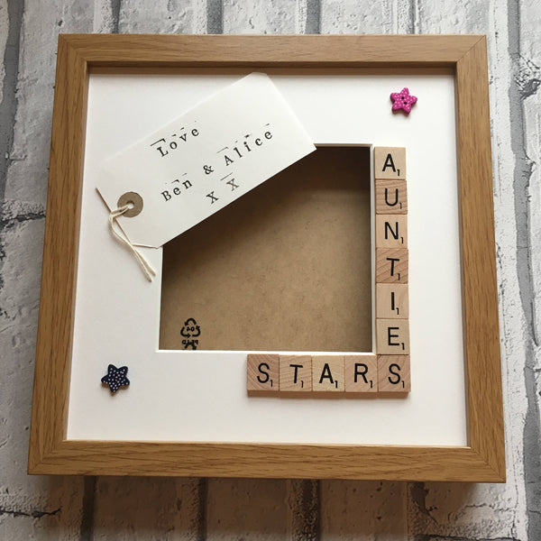 Aunty's Stars, Angels or Monsters, Personalised Scrabble Photo Frame
