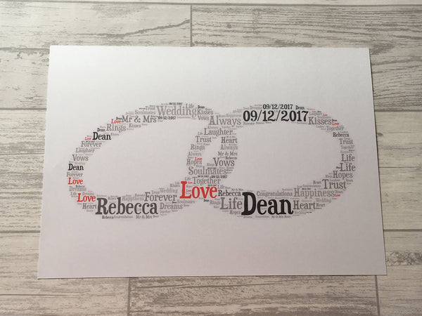 Entwined Rings A5 Wedding Anniversary Word Art Card, Typography, Word Cloud