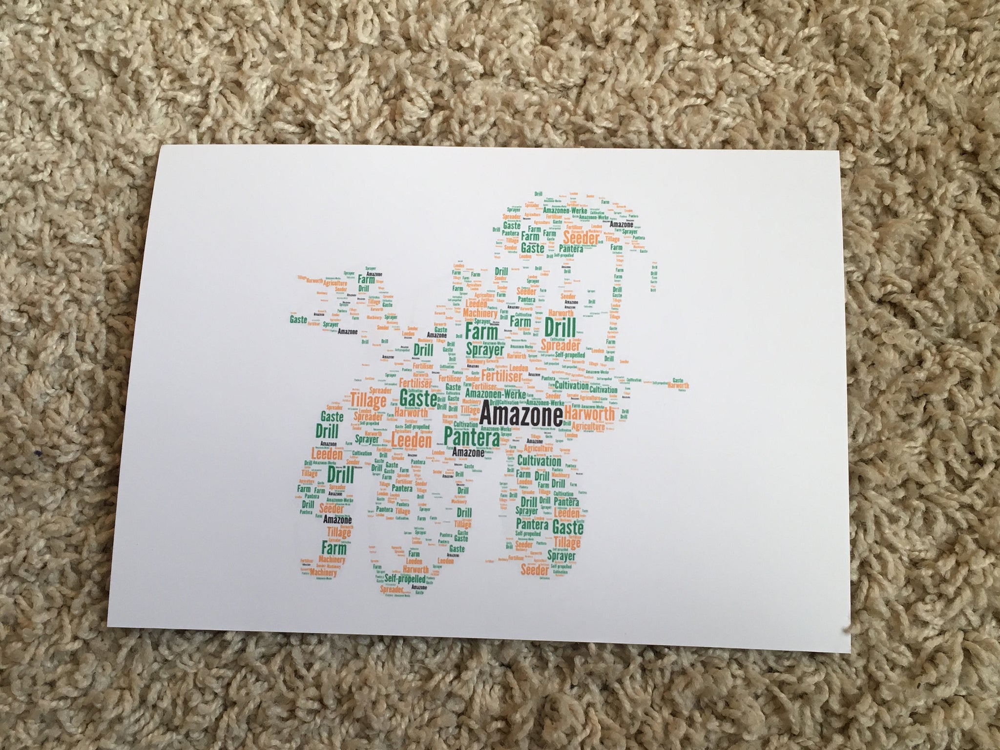 Farming Word Art Print, Farm Machinery Typography Print A4 (unframed)