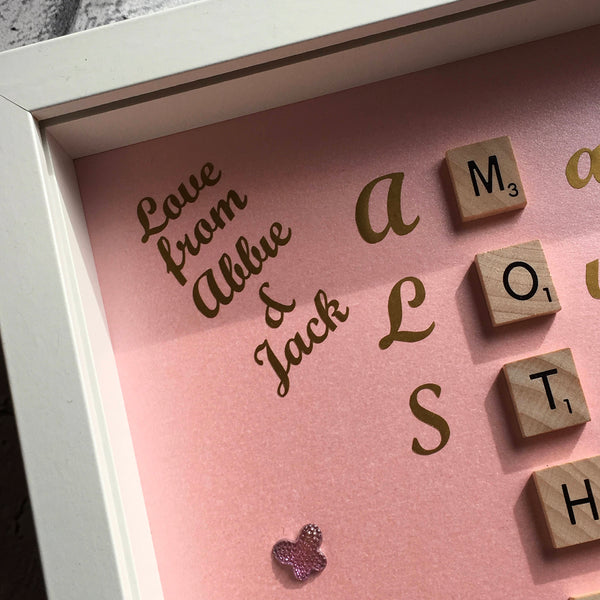 Meaning of Mother, Mother in words personalised scrabble frame.