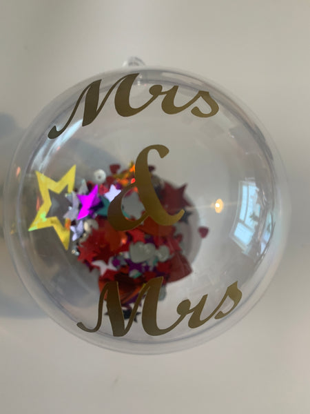 Mrs & Mrs Christmas Bauble, available in 3 colours.