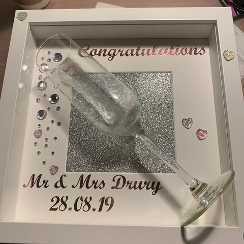 Wedding Gift Frame, Personalised Wedding Frame, Champagne Wedding Frame, Personalised Wedding Gift, Congratulations Frame, Anniversary Gift
