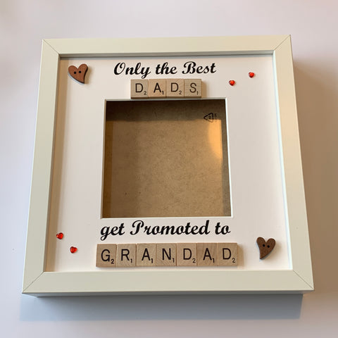 Best Dad Granddad Scrabble Art Photo Frame, Only The Best Dads Get Promoted To Grandad, Gifts for Him, Christmas Present, Fathers Day Gift