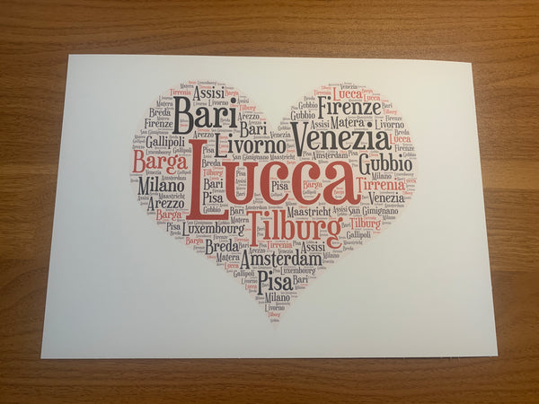 Heart Shape A4 Typography Word Art, A4 Unframed Print, Choice of Colour/s, Choice of Words, Valentines Card, Wedding Card, Anniversary Card.