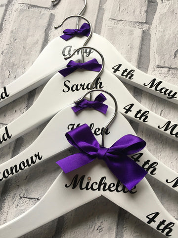 Personalised Wedding Hangers Set of 5, Bridal Hangers, Wedding Party , Personalised, Weddings, Proms, Christening, Special Occasions