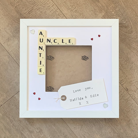 "Auntie Uncle 9x9"" Scrabble Frame with Photo Space and Personalised Message"
