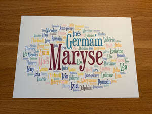Word Cloud A4 Typography Word Art, A4 Personalised Card, Choice of Colour/s, Choice of Words, Special Card, Birthday Card, Thank You Card