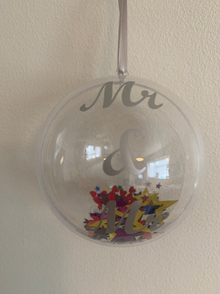 Mr & Mr Christmas Bauble, available in 3 colours.