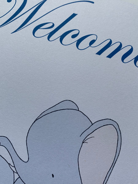 Baby Elephant Welcome New Baby Card A5 size can be personalised.