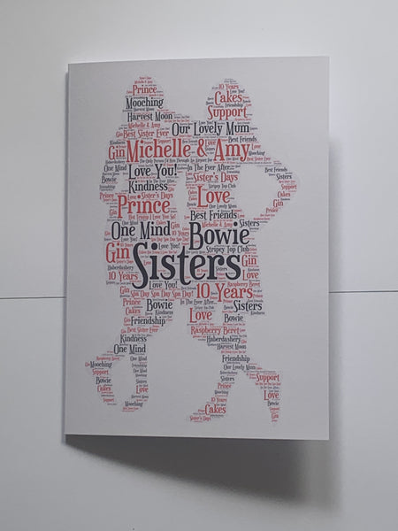 Friend Friends Birthday Typography Card, A4 Card, Personalised with your words, any shape and colour/s, Birthday Card, Good Luck, Congratulation