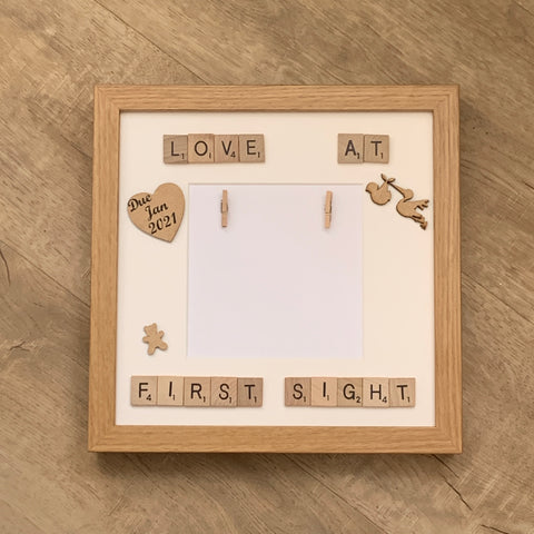 Love at First Sight Baby Scan Scrabble Art Personalised Photo Frame