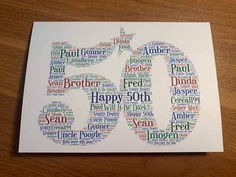 Number Shape A5 Typography Word Art Personalised Card, Choice of Colour/s, Choice of Words, Choice of Number, Special Birthday, Keepsake Card