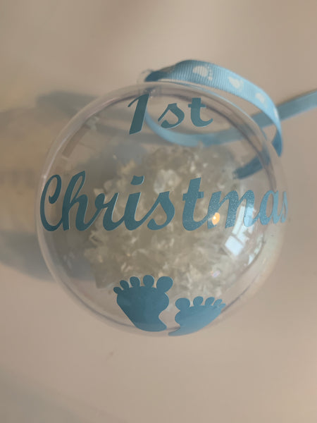 Baby's 1st Christmas Christmas Bauble with or without personalisation