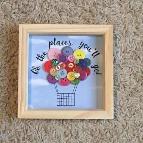 Oh the places you'll go! Hot Air Balloon Button Art Frame