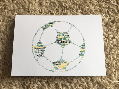 Sport Picture Personalised A4 Typography Word Art, Unframed Print, Football, Rugby, Cricket Basketball,  any shape/colour/s, your own words.
