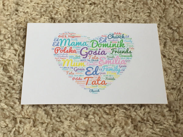 Heart Shape A4 Typography Word Art  Personalised Card, Choice of Colour/s, Choice of Words, Valentines Card, Wedding Card, Anniversary Card.