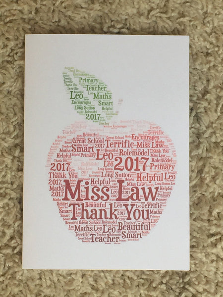 Teachers Apple A4 Personalised Typography Word Art, A4 Unframed Print, Teachers, End of Term, Thank You Teacher, Customised Card, Pupil Card