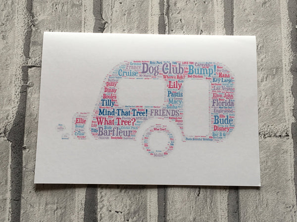 Vehicle or Farm Machinery A4 Shape Typography, Personalised A4 Unframed Print, Choice of Colour/s, Choice of Words, Choice of Shape.