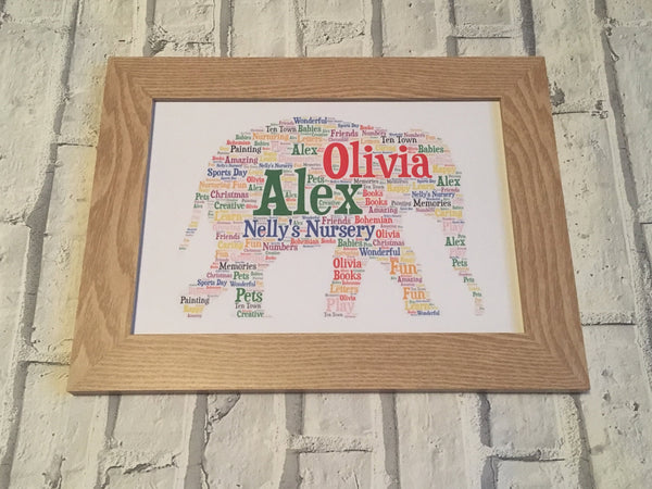 Animal Shape A5 Typography Word Art, A5 Personalised Card, Choice of Colour/s, Choice of Words, Choice of Shape, Special Card, Birthday Card