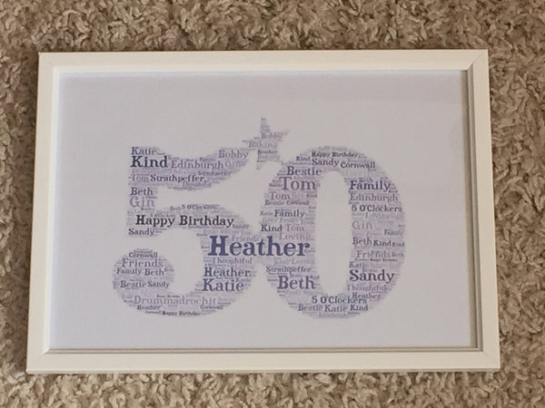 Shaped Typography A4 Personalised Word Art, Framed Print, Choice of Words, Choice of Shape, Gifts for Her, Gifts for Him, Christmas present
