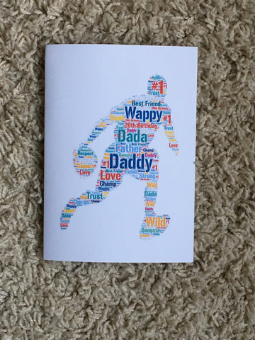 Father's Day A4 Typography Word Art, A4 Personalised Print, Choice of Colour/s, Choice of Words, Choice of Shape, Birthday Card,Cards for Men