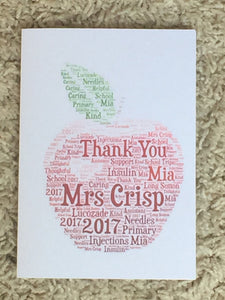Teachers Apple A4 Personalised Typography Word Art A4 Card, Cards for Teachers, End of Term, Thank You Teacher, Customised Card, Pupil Card