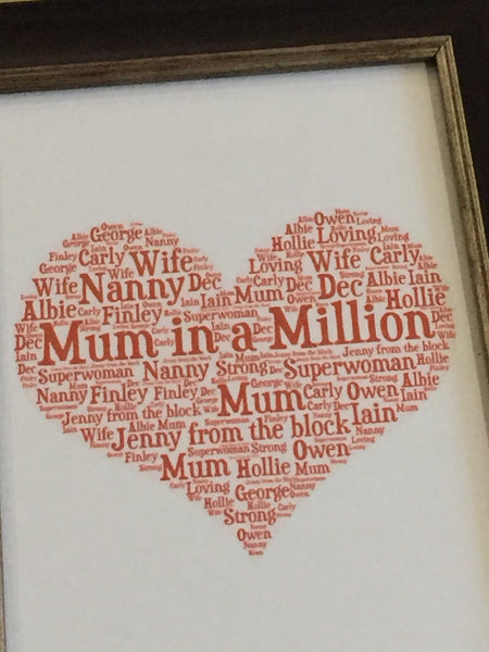 Mother's Day A4 Typography Word Art, A4 Unframed Print, Choice of Colour/s, Choice of Words, Choice of Shape, Birthday Card, Cards for Women