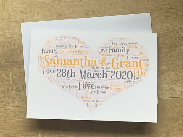 Valentines Day A4 Typography Word Art, A4 Unframed Personalised Print, Choice of Colour/s, Choice of Words, Valentines Print, Wedding Print.