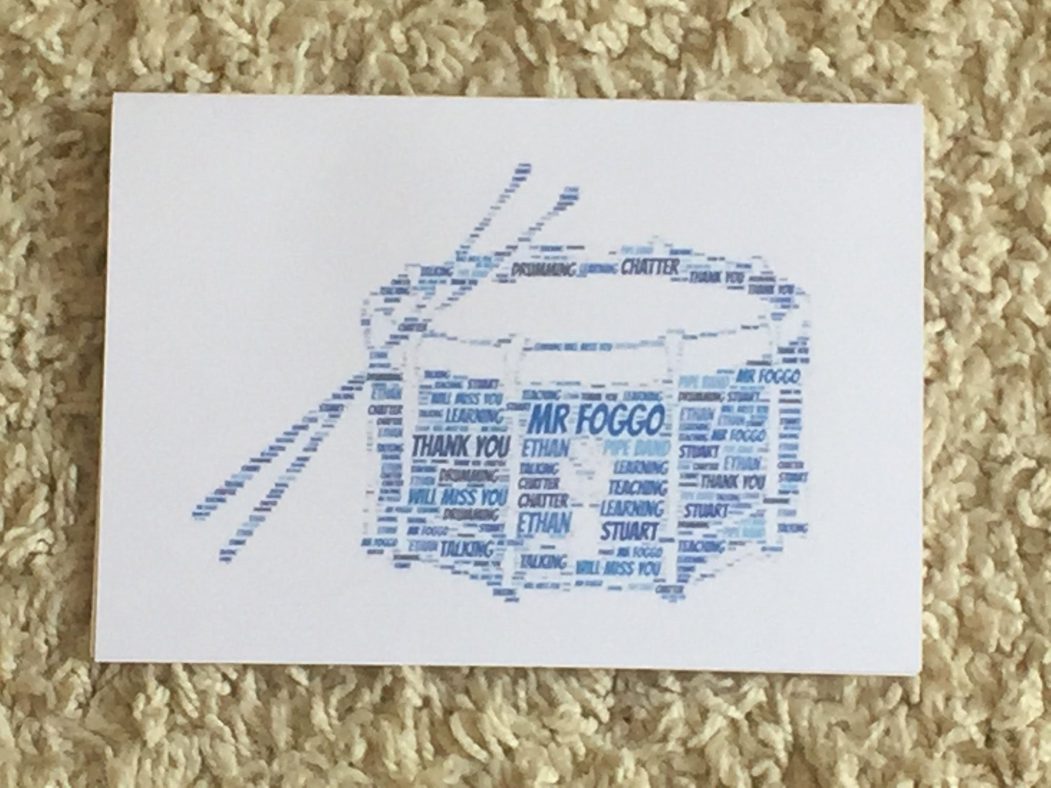 Music Themed Picture A4 Personalised Typography Word Art, A4 Unframed Print, Guitar, Drums, Theatre Masks, any shape/colour/s, own words.