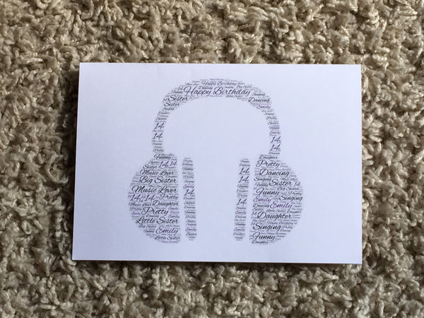 Music Themed Picture A4 Personalised Typography Word Art A4 Card, Guitar, Drums, Theatre Masks, Headphones, any shape/colour/s, own words.