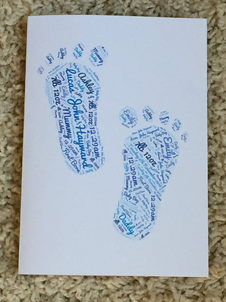 New Baby Typography A5 Word Art Personalised Card, Choice of Colour/s, Choice of Words, Choice of Shape, Newborn Card, Birth Congratulations